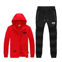 PUMA Fashion Women Men Cardigan Jacket Coat Pants Trousers Set Two-Piece Sportswear