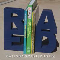 READ Wooden Bookends (wood bookends, read bookends, navy blue, teacher gift, classroom decor, bookshelf, home decor, nursery decor)