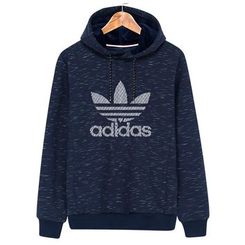 ADIDAS Clover autumn and winter new trend hooded sports pullover sweater Blue