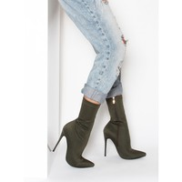 Jadah Khaki Lycra Pointed Toe Ankle Boots : Simmi Shoes