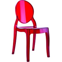 Baby Elizabeth Kids Ghost Style Chair Transparent Red