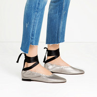 LACE - UP LEATHER BALLET FLATS-View all-SHOES-WOMAN | ZARA United States
