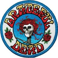 Grateful Dead Garcia Round Skull Rose Embroidered iron on Patch p1228