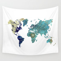 World Map Wind Rose Wall Tapestry by Jbjart | Society6