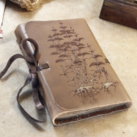 beige leather journal, vintage style journal, notebook, diary with vintage style pages, Germination