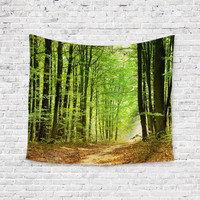 Wooded Path Leaf Trail Light Trendy Boho Wall Art Home Decor Unique Dorm Room Wall Tapestry Artwork