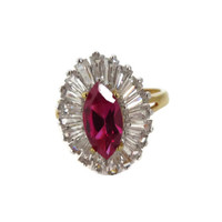 Vintage EDCO Rhinestone Cocktail Ring - Gold Electroplated Red and White - Size 8.5
