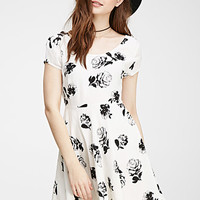 Rose Print Cross-Back Dress