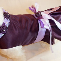2PC Custom Bridesmaid Dress for Dogs or Cats and Matching Floral Collar. Match your Wedding colors.