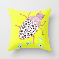 Yellow Bugs Throw Pillow - Double Sided Throw Pillow - Faux Down Insert - Illustrated Pillow Cover