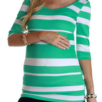Mint-Green-White-Striped-Maternity-Top
