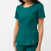 The Peplum Top in Hunter Green - Medical Scrubs by Jaanuu