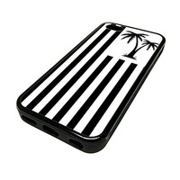 For Apple Iphone 5 or 5s Cute Phone Cases for Girls Black Palm Tree California Flag Teens Design Cover Skin Black Rubber Silicone Teen Gift Vintage Hipster Fashion Design Art Print Cell Phone Accessories