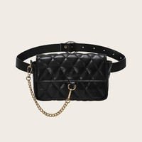 Chain Decor Quilted Bum Bag
