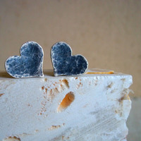 Sterling Silver Heart Earrings -Battered & Braised - Black Hearts - Spring Fashion - Valentine's Day - Anti-Valentine's Day