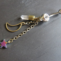 Dangling Mystical Quartz Moon Rainbow Star Bullet Belly Button Ring