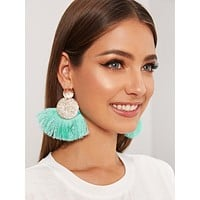 1pair Textured Round Decor Tassel Drop Earrings