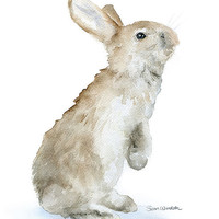 Bunny Watercolor Reproduction - 4 x 6 - Giclee Fine Art Print