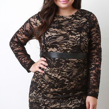 Floral Lace Overlay Longsleeve Bodycon Dress (New Arrival)