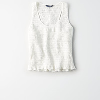 AE Smocked Tank Top, Natural White