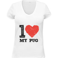 Short-Sleeve V-Neck - I Love My Pug T-Shirt