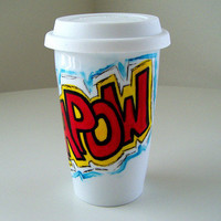 Ceramic Travel Mug Super Hero Comic Book Sound Fx Yellow Red Blue Geekery Kapow painted by sewZinski