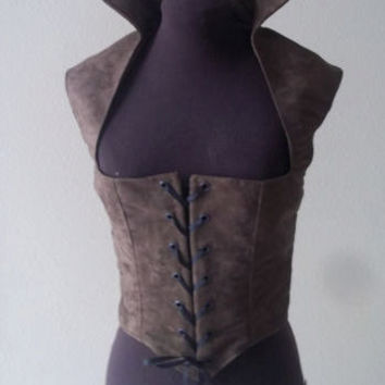 Brown Suede Renaissance Gothic Bodice Many Sizes AVAILABLE
