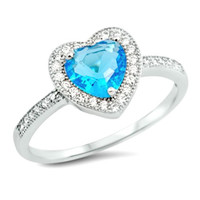 .925 Sterling Silver Blue Aquamarine Halo Heart Engagement Ring Ladies size 4-10
