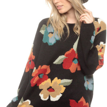Floral Sweater 80s Black Oversized Slouchy Flower Print Knit 1980s Pullover Vintage Hipster Jumper Retro Red Yellow 90s Small Medium