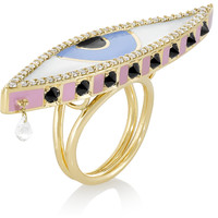 Holly Dyment - Teary 18-karat gold and enamel multi-stone ring