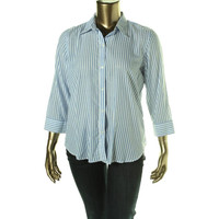 American Living Womens Cotton 3/4 Sleeves Button-Down Top