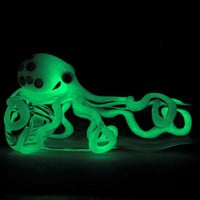 Glow in the Dark Octopus Chillum Medium Thick by andromedaglass