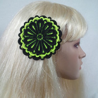 Black and Neon Yellow Embroidered Fascinator