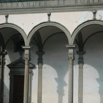 Photograph of Renaissance Architecture in Florence, Monochromatic Wall Art, Classical Architectural Photography.