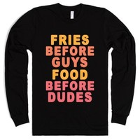 Fries Before Guys-Unisex Black T-Shirt