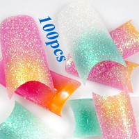 350buy NEW 100X Sparkling French Nail Tips Stunning Mix Glitter Colors Style False French Acrylic Nail Art Tips