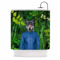 "Natt ""Into The Leaves N3"" Green Wolf Shower Curtain"