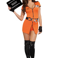Orange Short Sleeve Handcuff Belt Inmate Costume