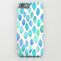Watercolor Leaf Pattern in Blue & Turquoise iPhone & iPod Case by Micklyn