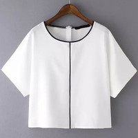 White Short Sleeve Loose Top with Back Zipper