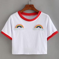 Contrast Trimmed Rainbow Patch Crop T-shirt