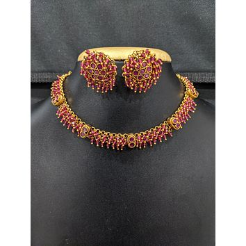 Antique Gold plated CZ stone Choker Necklace and Stud Earrings set