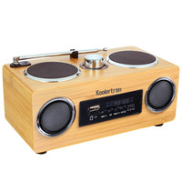 Koolertron Eco-friendly Hand-made Mini Portable Bamboo Wood Boombox Sound Card Speaker With Radio Function 2016 New
