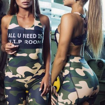 Letter Printed Camouflage Patchwork Jumpsuit