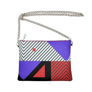 Neo Memphis Patches Stickers Crossbody Bag With Chain by The Photo Access