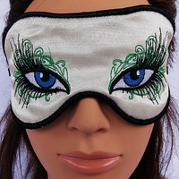 Fancy Blue eye  fairy tale satin embroidered sleep mask