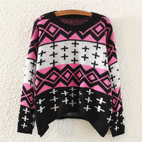 Black & Pink Geometric Print Sweater