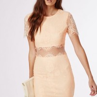 Missguided - Coldie Lace Short Sleeved Mesh Insert Midi Dress Nude
