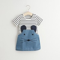 Baby Girl Stripe T-shirt Deming Summer Dress Children Clothing Little Mouse Costume Baby Kids Party Dresses Girl School Clothes