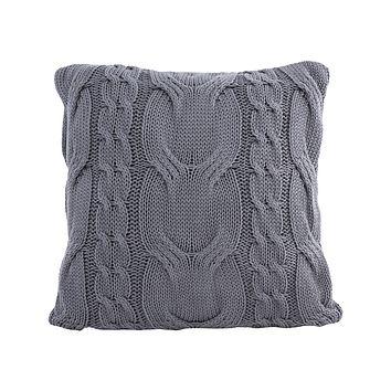 Cable Knit Natural Cotton Cushion/Pillow in Grey